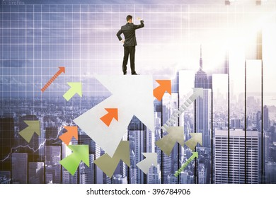 Research concept with businessman standing on colorful arrows, looking into the distance on digital city background