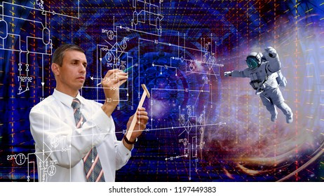 research cosmic  technologies.astronaut explores the cosmic mind. Elements of this image furnished by NASA