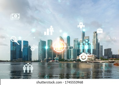 Research and development hologram over panorama city view of Singapore, hub of new technologies to optimize business in Asia. Concept of exceeding opportunities. Double exposure.