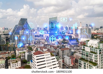Research and development hologram over panorama city view of Bangkok, hub of new technologies to optimize business in Asia. Concept of exceeding opportunities. Double exposure.