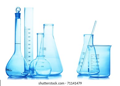 Research lab assorted glassware equipment,isolated.
