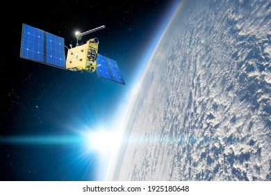 Research, probing, monitoring of in atmosphere. Satellite above the Earth makes measurements of the weather parameters, over continuous cumulus thunderstorm. Elements of this image furnished by NASA