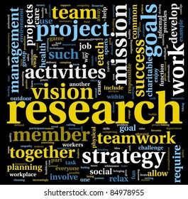Research and project concept in word tag cloud isolated on black