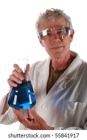 a research scientist holds a beaker of liquid          isolated on white