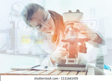 Research scientist is using microscope in laboratory room., Science, chemistry, technology, biology., Double exposure concept.