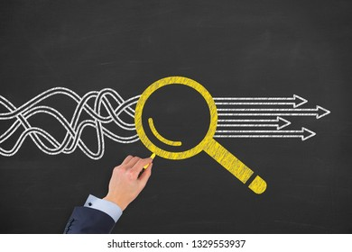 Research Solution Concepts on Chalkboard Background