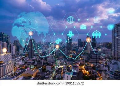 La recherche et le développement technologique sont des icônes brillantes. Vue panoramique sur Bangkok la nuit. Concept d'activités innovantes qui étendent de nouveaux services ou produits en Asie. Double exposition.