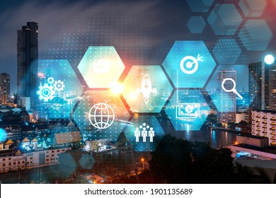 Research and technological development glowing icons. Night panoramic city view of Bangkok. Concept of innovative activities expanding new services or products in Asia. Double exposure.