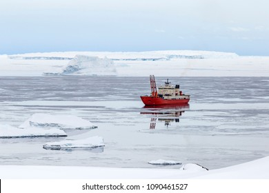Research vessel in the Antarctic