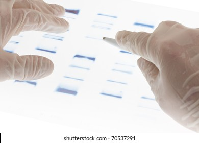 Researcher examining DNA sequence transparency slide