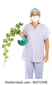 researcher holding transgenic creeper plant isolated on white