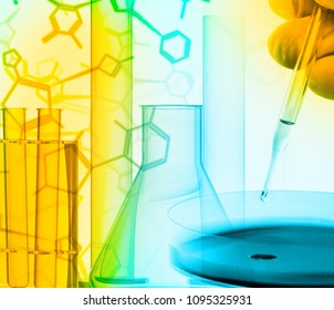 Researcher with petri dish and science lab glass equipment over structural chemical formula - research or science concept background