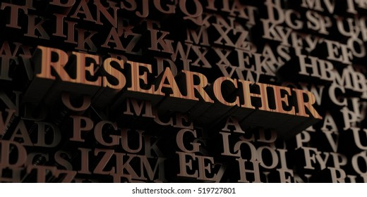 Researcher - Wooden 3D rendered letters/message.  Can be used for an online banner ad or a print postcard.