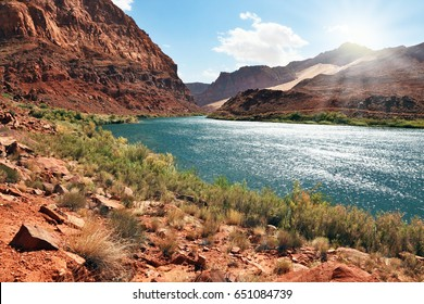 A reservation of Indians of the Navajo, the USA.  The river Colorado in abrupt coast from red sandstone