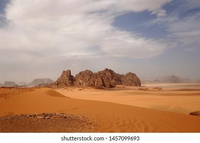 Reserve of the desert. Martian landscape. Fancy desert mountains against the sky.