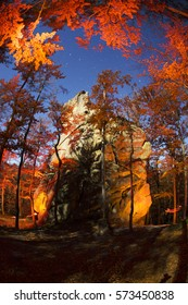 """The reserve """"Dovbush Rocks"""" near Bubnyshche - pagan temple, an ancient Christian monastery, fortification, worshiped gods on the background of beautiful wild Carpathian Ukraine"""