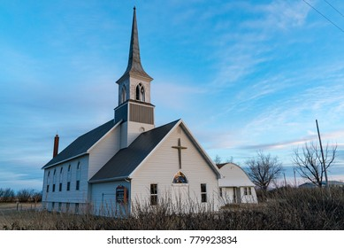 RESERVE, MONTANA - DECEMBER 5, 2017:  The Nathanael Lutheran Church, Reserve, Montana, organized in 1907, stands alone in the middle of the plains in northeast Montana near Dagmar.