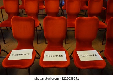 Reserved chairs in conference hall