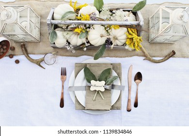 Reserved Thanksgiving or Halloween place setting at a farmhouse table set with mini white pumpkins, Lamb's Ears leaves,  antlers and wildflowers for autumn.