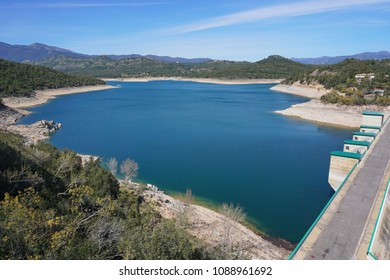 The reservoir and dam of Darnius Boadella in the Province of Girona, Alt Emporda, Catalonia, Spain