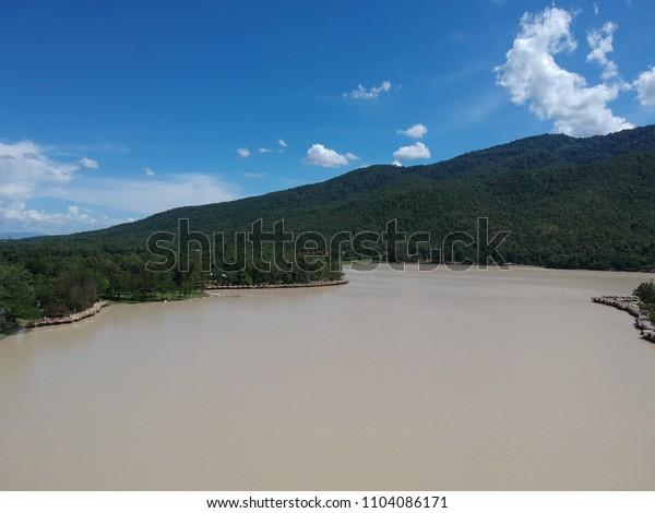 Reservoir inside the mountain