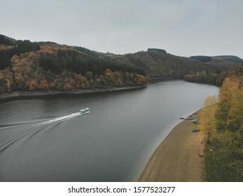 Reservoir Obersauer, Lultzhausen, Sauer river, Esch sur Sure, nature park Obersauer, Luxembourg