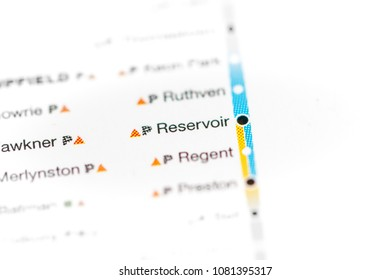 Reservoir Station. Melbourne Metro map. on a map.