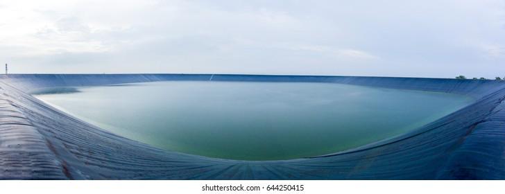 reservoir, water, big, giant, membrane, black,