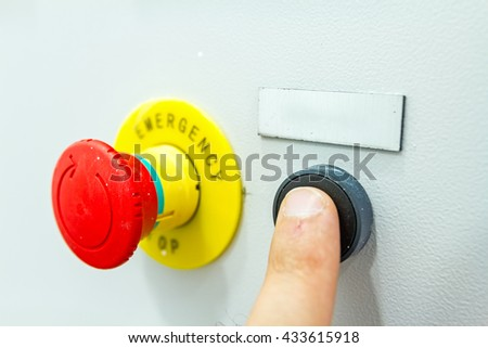 reset fuse box with emergency red shutdown (panic) button