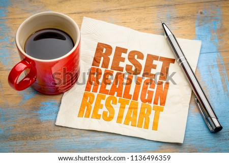 reset, realign, restart concept - word abstract on a napkin with a cup of  coffee
