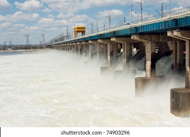Reset of water on hydroelectric power station on the river