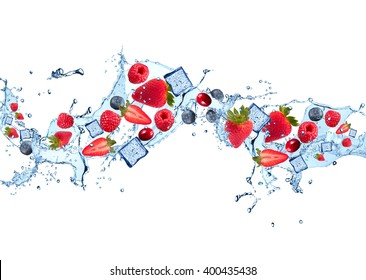 resh fruits, berries falling in water splash, isolated on white background