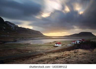 Residence among beautiful scenery of natural from meadow and mountains during the sunsets. Can be seen along the route on Ring road in Iceland.
