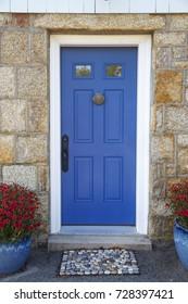 residence front entrance. sleek design. blue door with door knocker, stone doormat and potted plants. Vertical