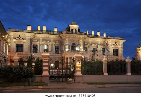 Residence of HM Ambassador of Great Britain at Summer Twilight in Moscow, Russia