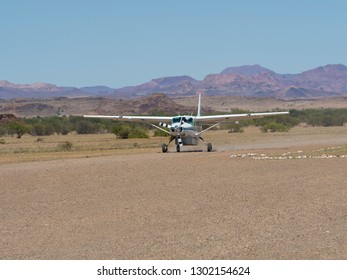 A resident Cessna 208 B on an airstrip in Damaraland, Namibia, Mar 2015