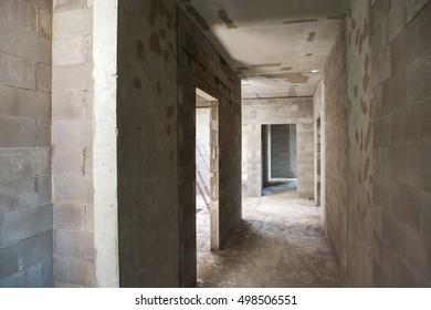 Residental building under construction. ???????? ?ement brickwork walls