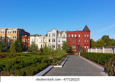 Residential architecture of North East suburb of Washington DC. Colorful row houses surrounded by garden.