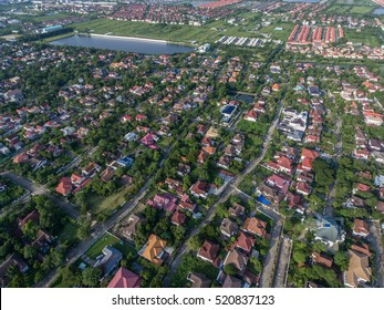 Residential area aerial view. Real estate, land and property industry in Bangkok, Thailand suburb area.