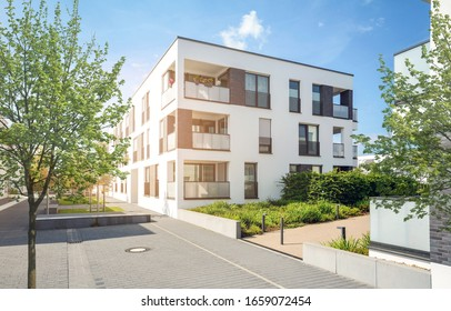 Residential area in the city, modern apartment buildings
