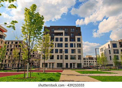 Residential area. Low-rise construction. European style. Selective soft focus