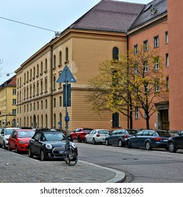 Residential area in Munich. Houses and cars. Modern cityscape. German Architecture. City life of European cities. Germany, Munich - November 16, 2017