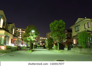 Residential area at night, in Kawagoe, Saitama Prefecture, Japan