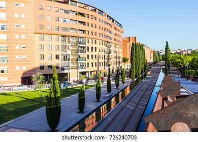 Residential area and tram line in Madrid, Spain.
