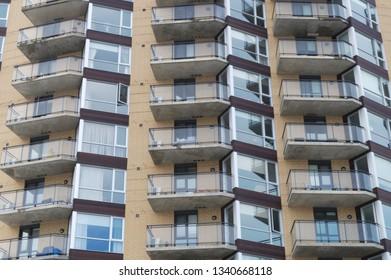 residential balconies apartment building facade modern condominium