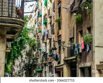 Residential building in the ancient gothic quarter of Barcelona, Catalonia, Spain