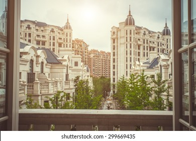 Residential building area in classic style. View from balcony. London luxury balcony view