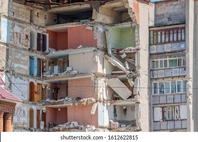 Residential building collapsed after gas explosion. Close-up view
