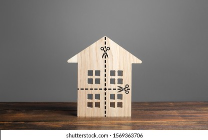 Residential building divided by a dotted line into four equal parts. Distribution of the right. Divorce concept. Disputes over division process of real estate and property after divorce. - Shutterstock ID 1569363706