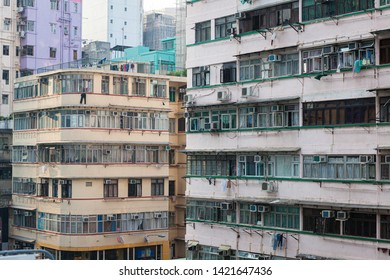 Residential building pattern facade in Hong Kong